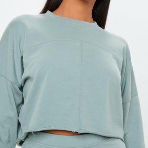 Petite Raw Hem Cropped Sweatshirt